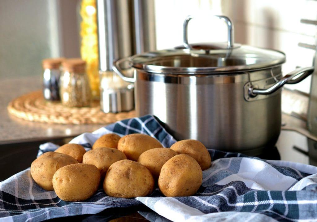 Saucepan and potatoes