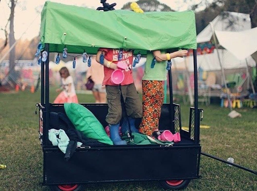 Kids hanging out in a Festival Wagon at Little Splendour