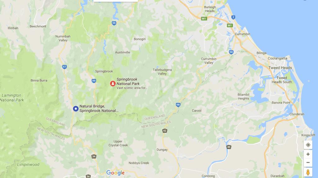 Natural Bridge Gold Coast map