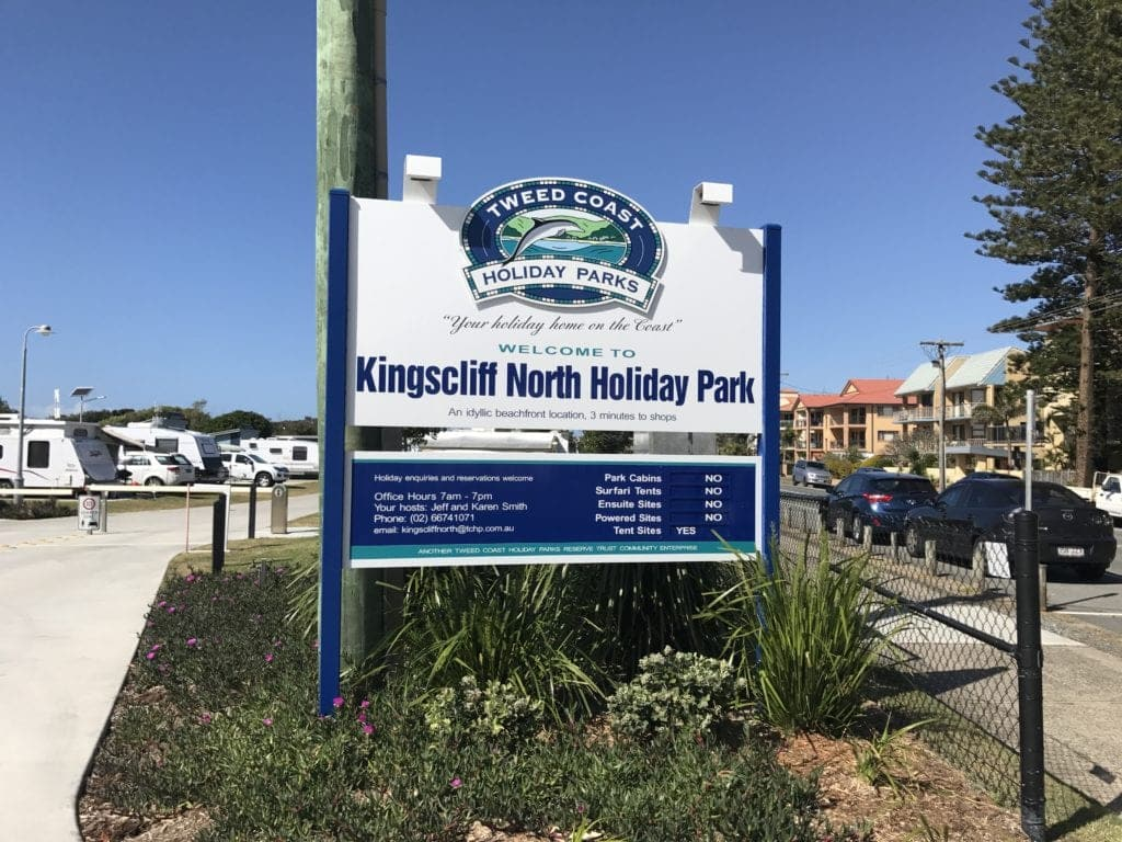 kingscliff north holiday park sign