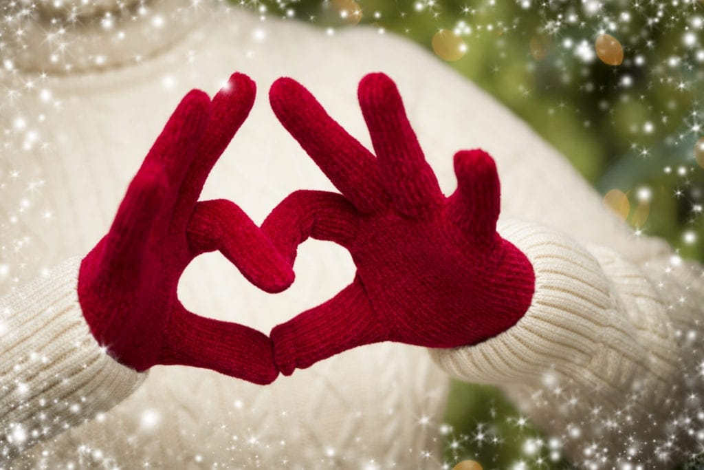 christmas charity glove heart