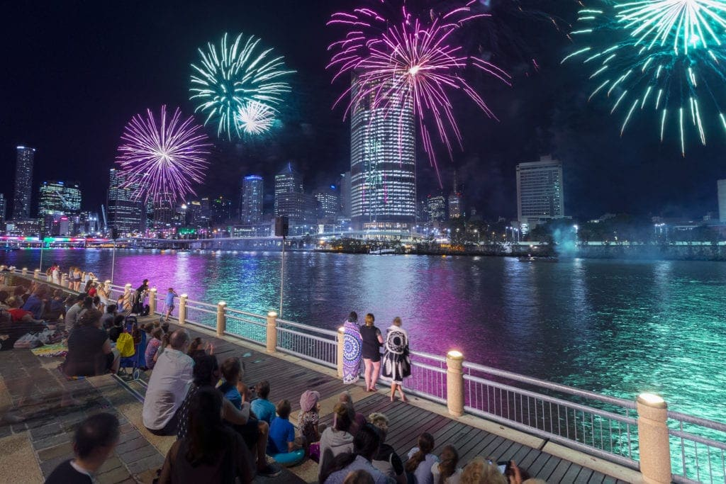 christmas in brisbane fireworks river