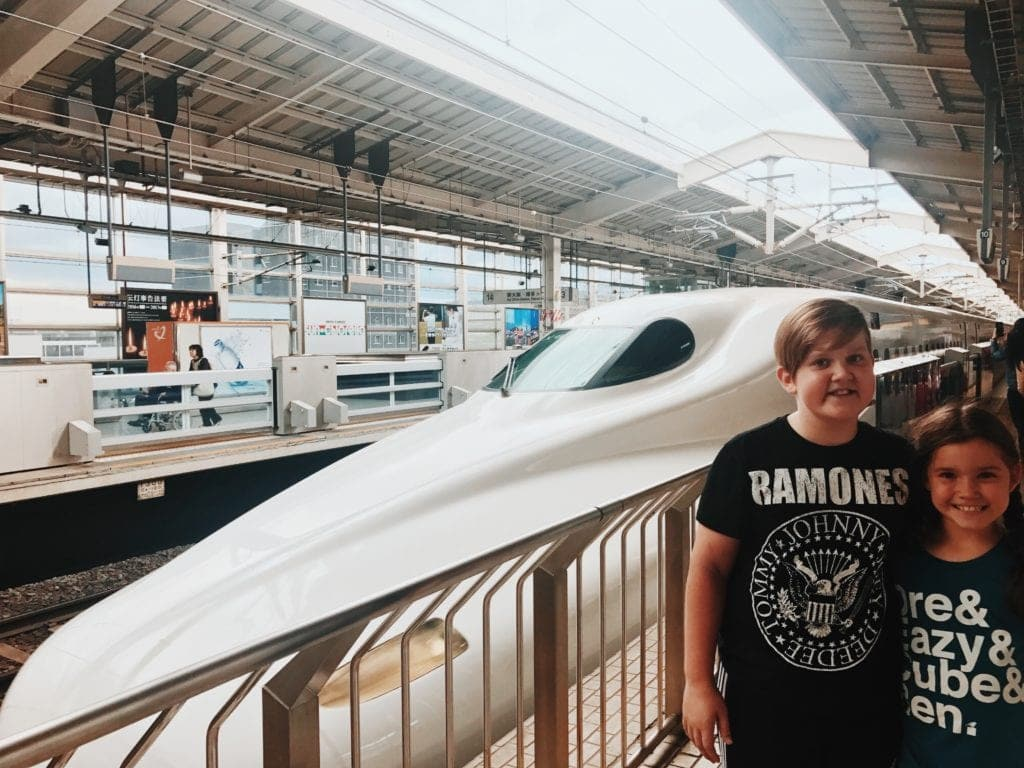 shinkansen bullet train travelling in japan with kids