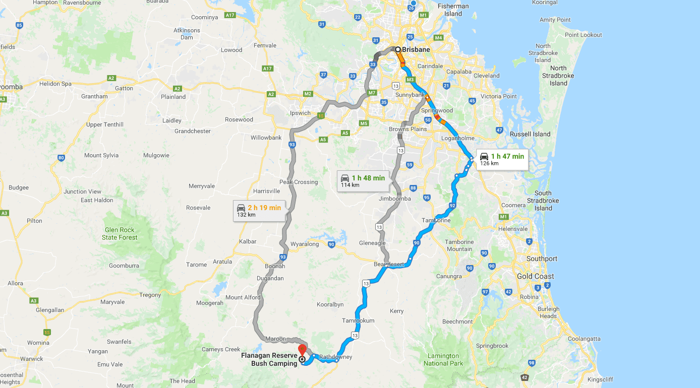 Directions to Flanagan's Reserve Camping Ground