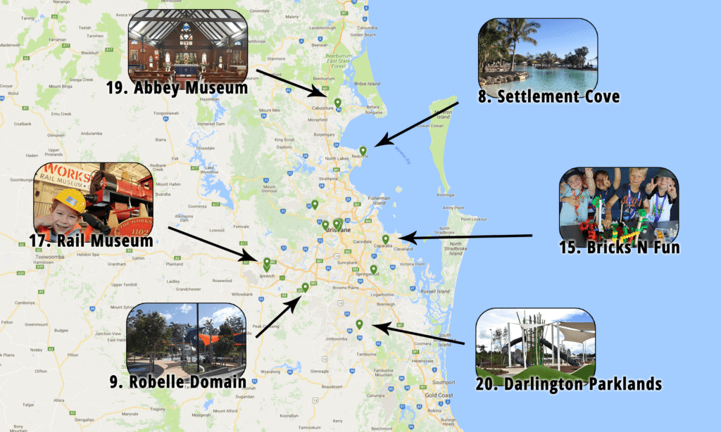 Brisbane Maps | Map of Family Attractions Around Brisbane