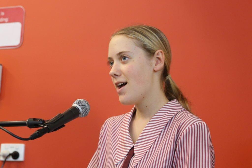 Emily Moore sings