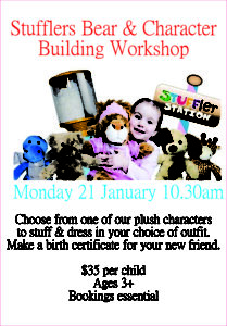 Stuffler Bear and Character Building workshop | Geebung