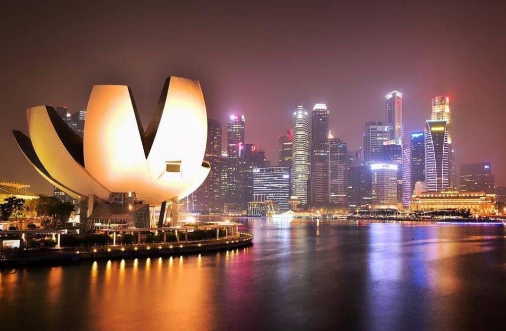 Singapore skyline from Helix Bridge