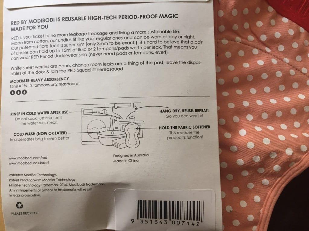 Modibodi Care Instructions