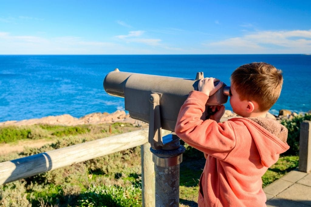 Boy Looking Through Telescope