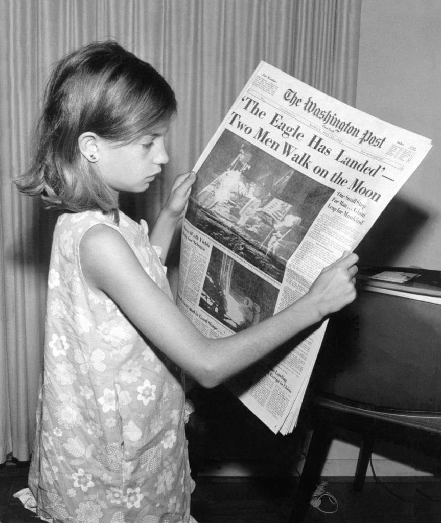 Newspaper headline moon landing