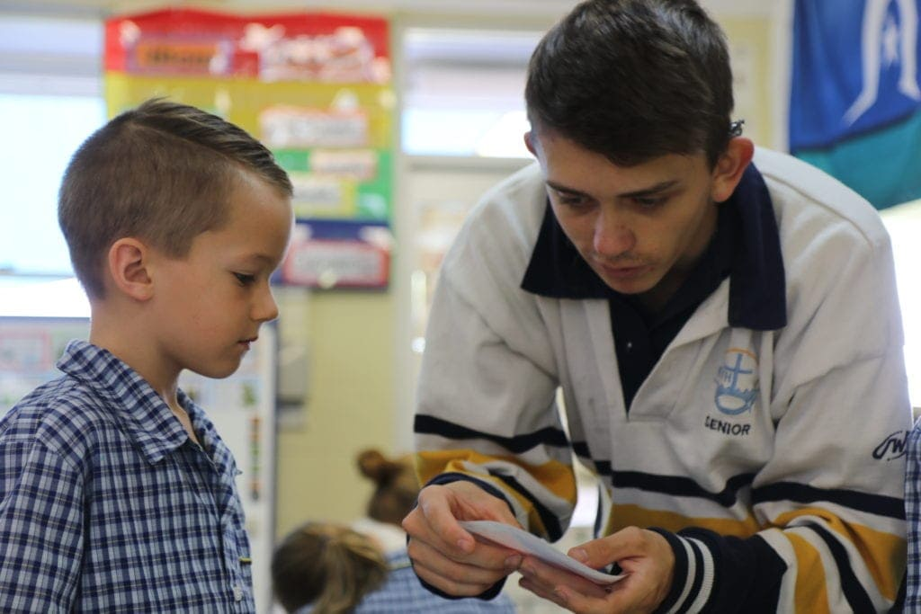 Senior and Primary students work together at FLCR