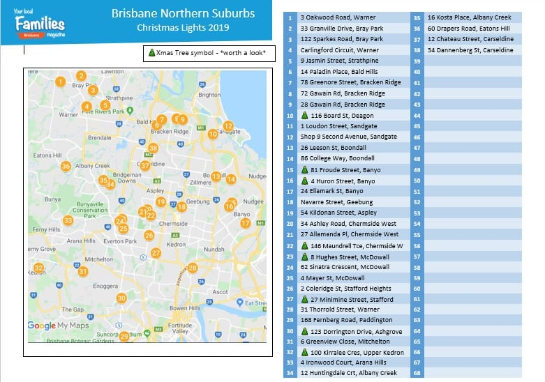 2019 Brisbane Northern suburbs Christmas lights map and lists image