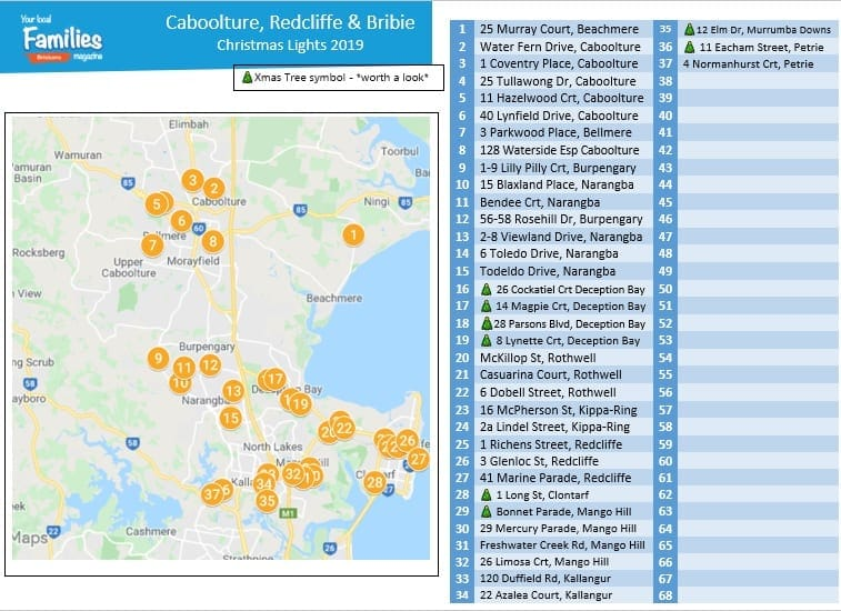 2019 Caboolture Redcliffe and Bribie Island Christmas lights map and lists image