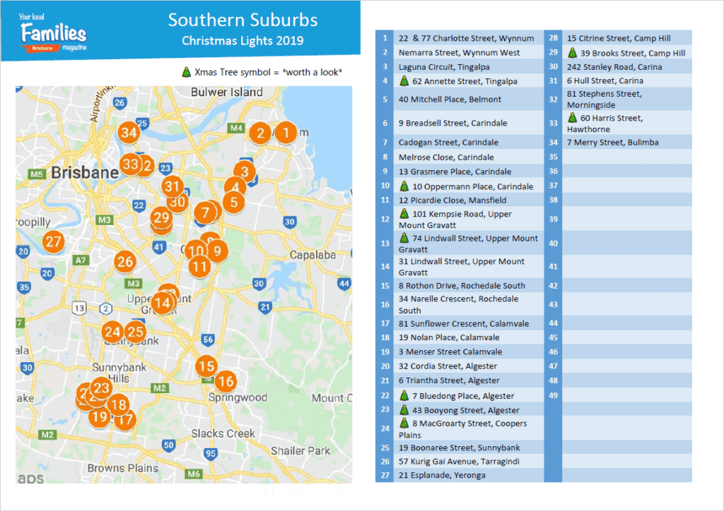 2019 Southern Suburbs Christmas Lights Printable List and Map