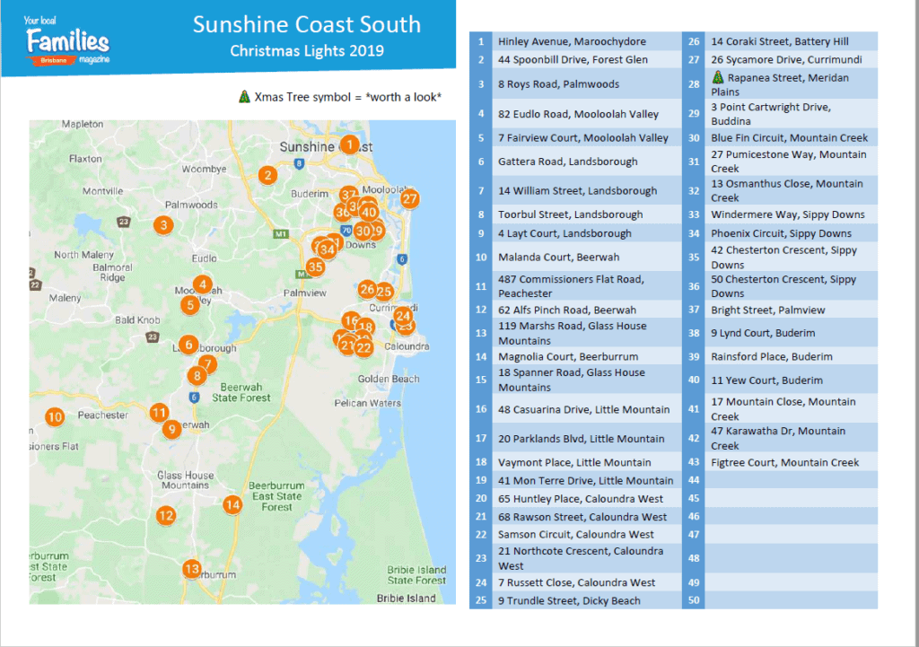 2019 Sunshine Coast South Christmas Lights Printable List and Map