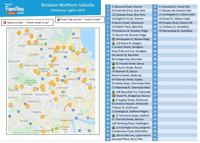 UPDATED - 2019 Brisbane Northern suburbs Christmas lights map and lists image