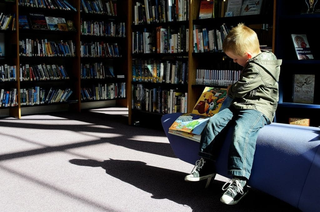 Child at the library