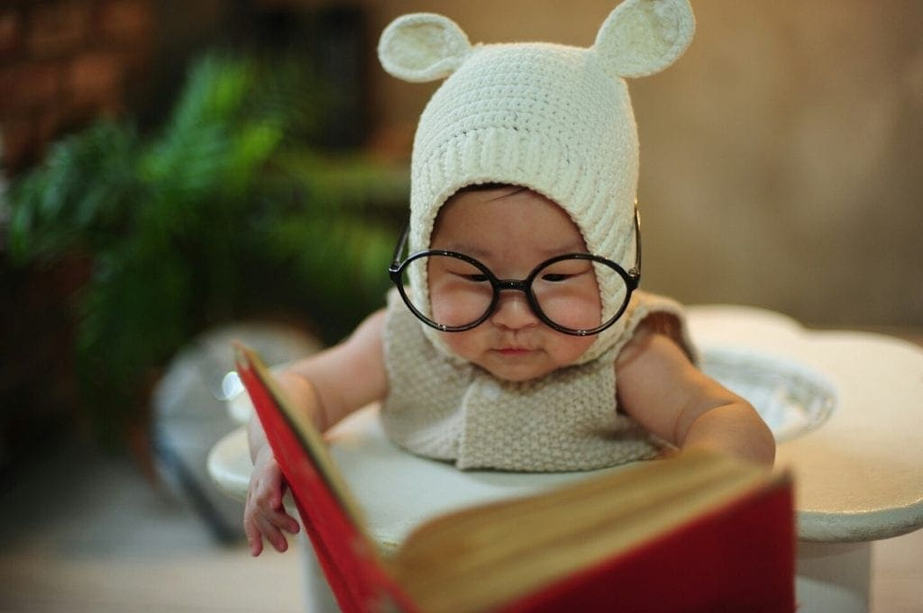 Clever baby reading