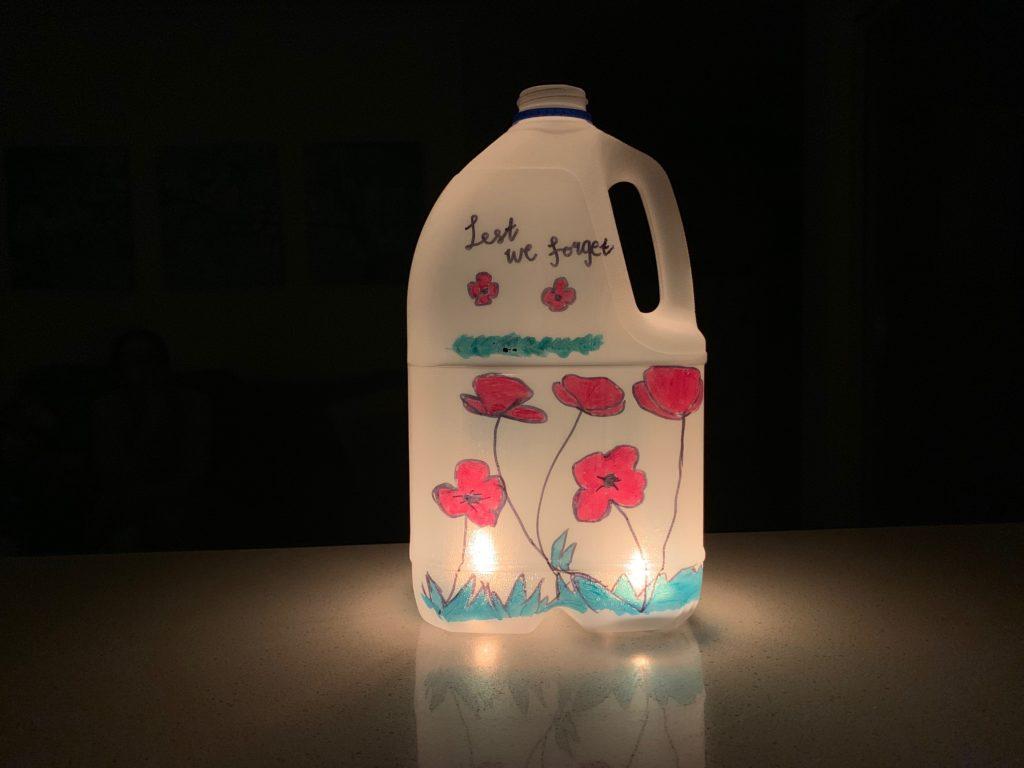 Anzac Day Lantern lit
