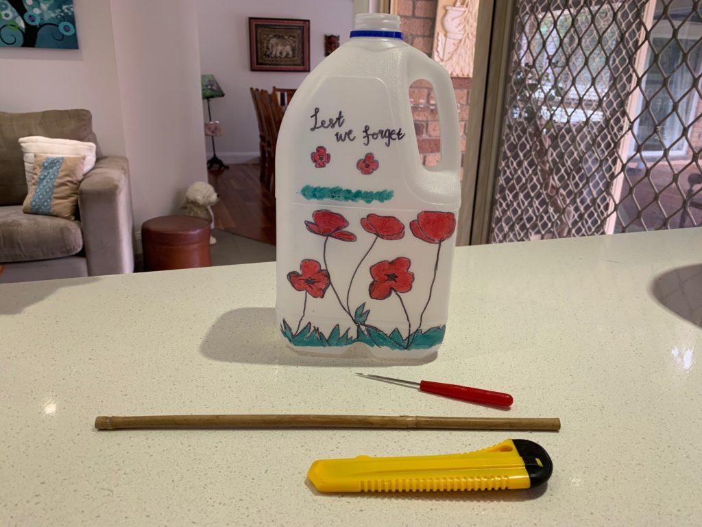milk carton bird feeder step 1
