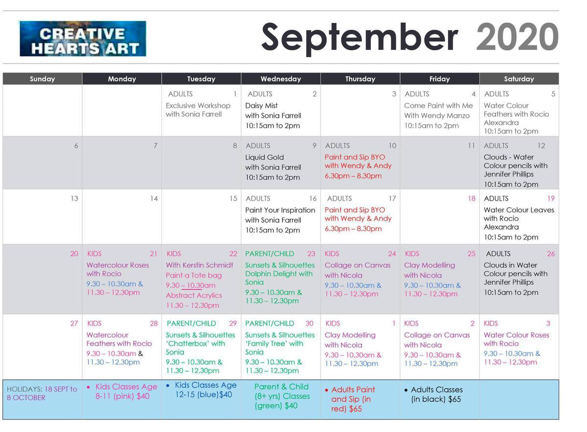 Creative Hearts Art - September Program