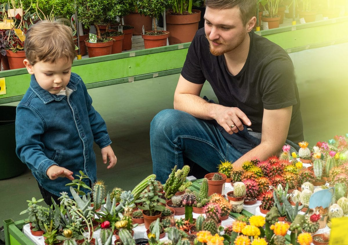 Father and son in plant nursery