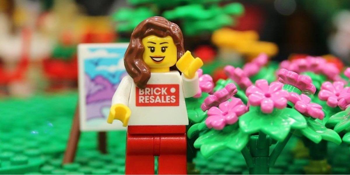 LEGO lady in LEGO garden