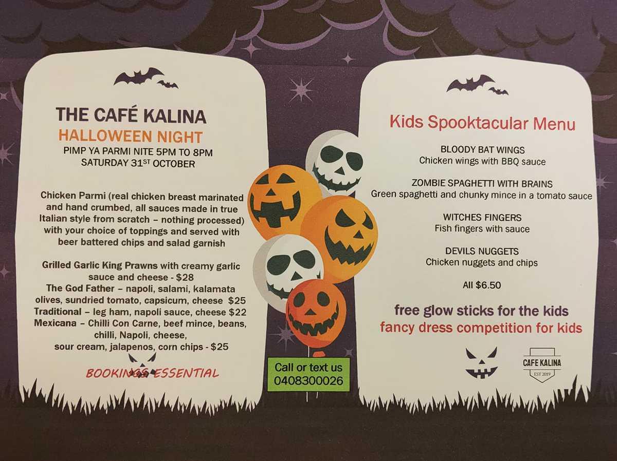 Cafe Kalina Spook Halloween Menu