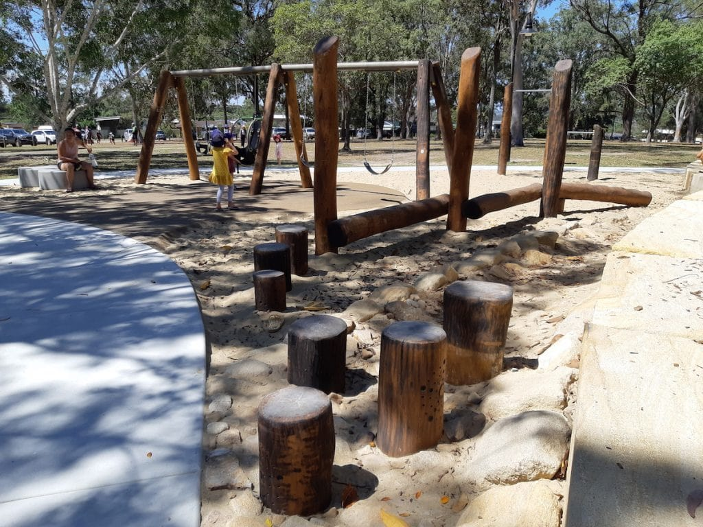 Logan Gardens Water Park - balancing logs