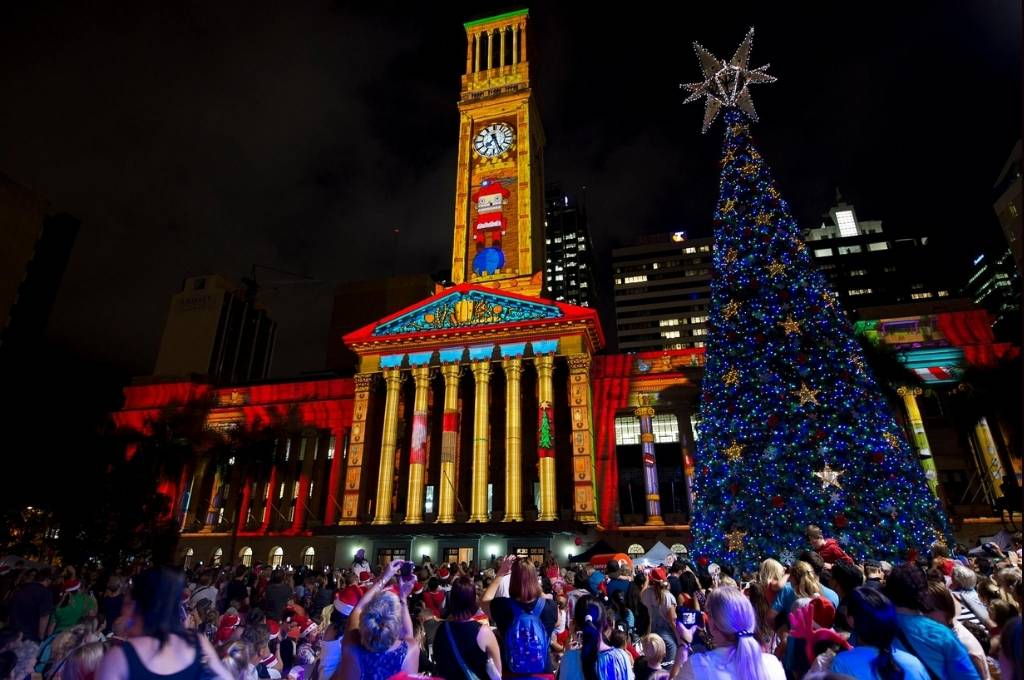 Christmas in Brisbane City Hall Lights