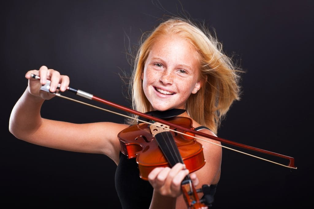 Young female violinist