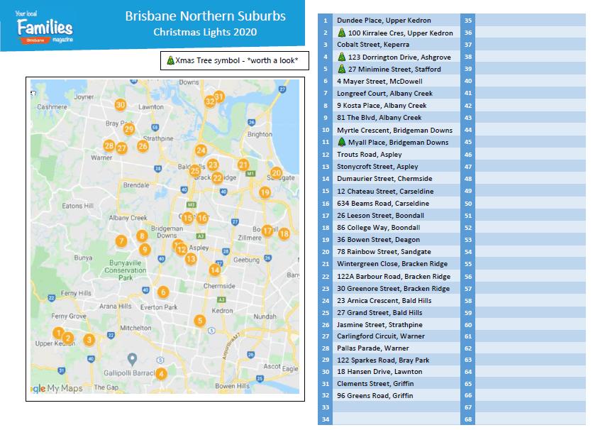 Brisbane Northside suburbs Christmas lights 2020