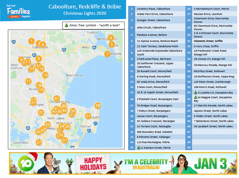 Beast Christmas lights list and map Caboolture Redcliffe & Bribies