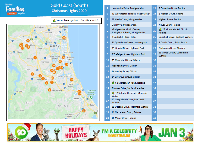 Gold Coast (South) Christmas lights 2020