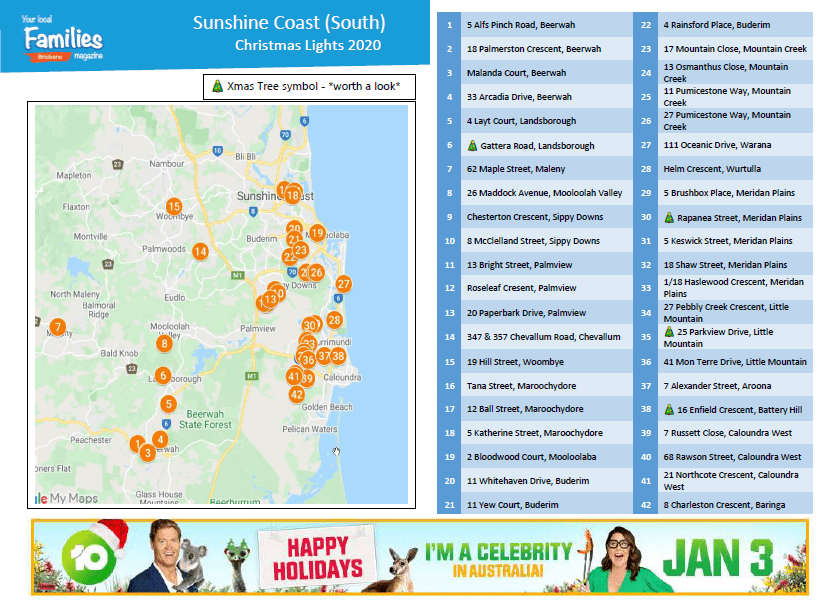 Sunshine Coast (South) Christmas lights 2020