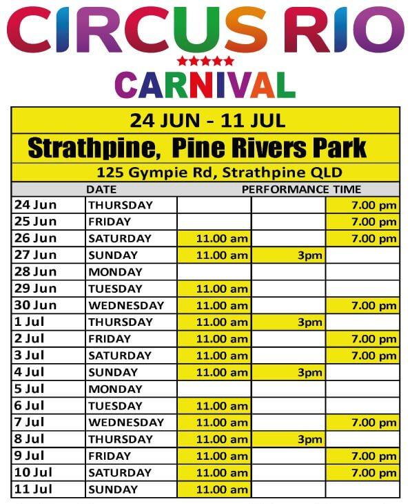 Circus Rio Timetable